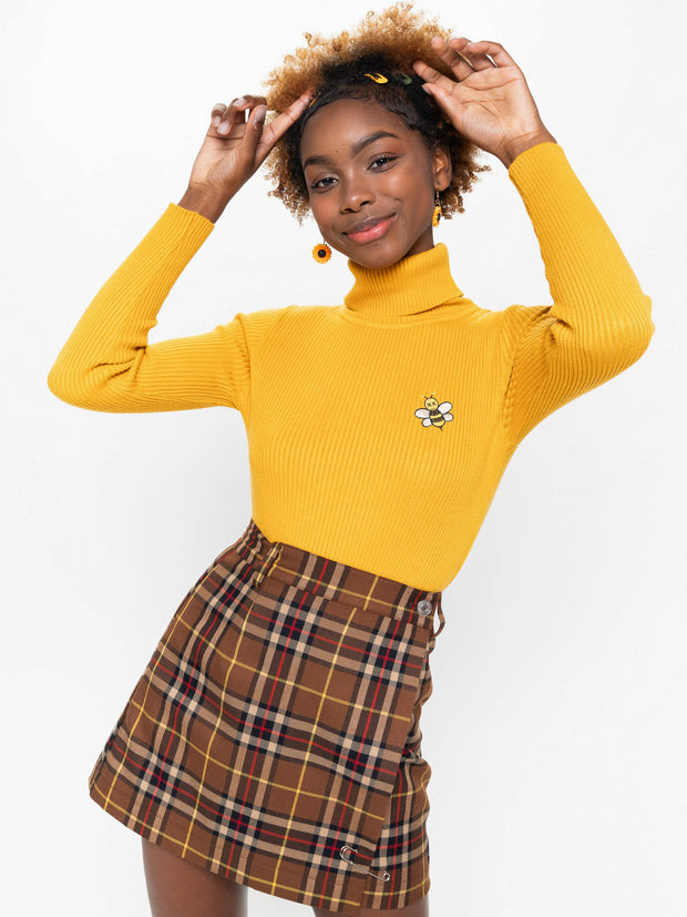 Bumble Bee High Neck Knitted Top - Minga London