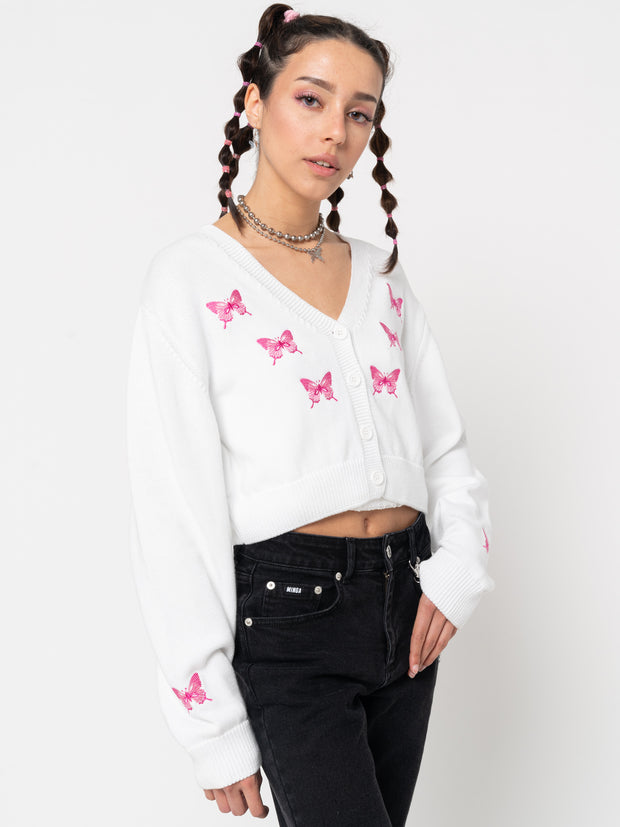 Butterfly Queen Crop Cardigan - Minga London