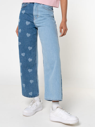 Contrast Straight Jeans in Heart Print