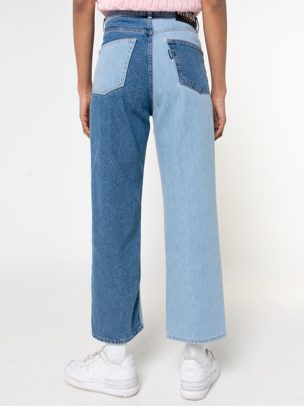Contrast Straight Jeans in Heart Print - Minga London
