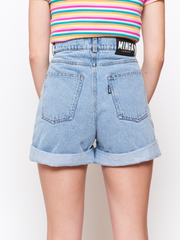 Denim Mom Shorts in Light Blue Minga