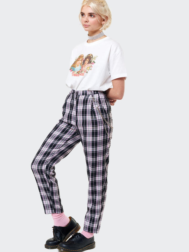 Emma Plaid Trousers With Chain