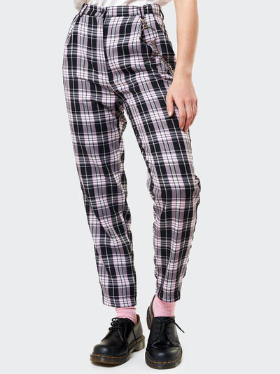 Emma Plaid Trousers With Chain - Minga London