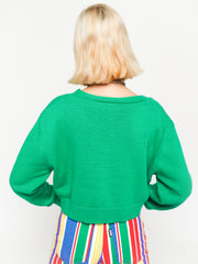 Cherry Girl Green Crop Cardigan