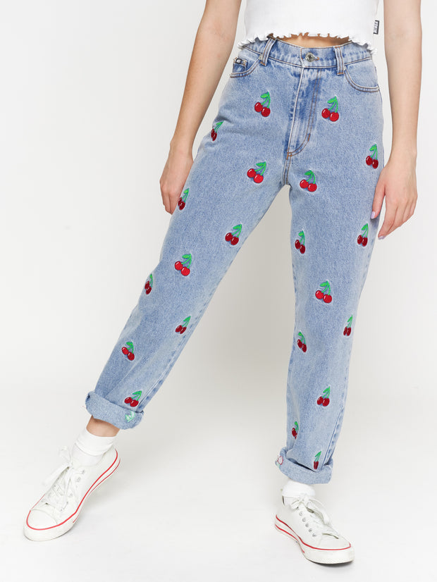 Cherry Denim Mom Jeans