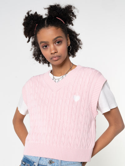 Heart Pink Cable Knitted Sweater Vest - Minga London