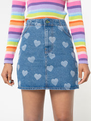 Heart Print Denim Mini Skirt - Minga London
