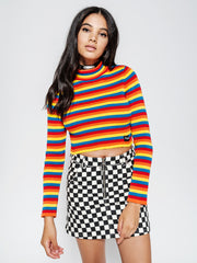 Rainbow Ribbed Knit Top