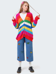 Rainbow Striped Oversized Knit Cardigan