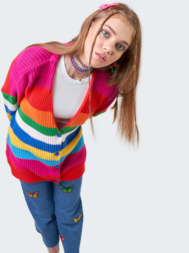 Rainbow Striped Oversized Knit Cardigan - Minga London