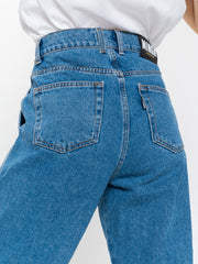 Slouchy Jeans in Mid Blue - Minga London