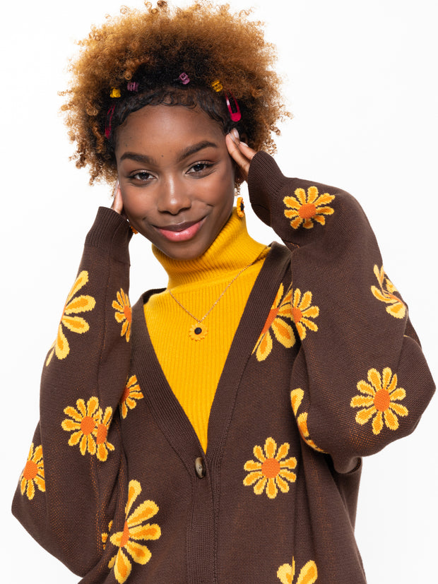 Sunflower Girl Knitted Cardigan - Minga London