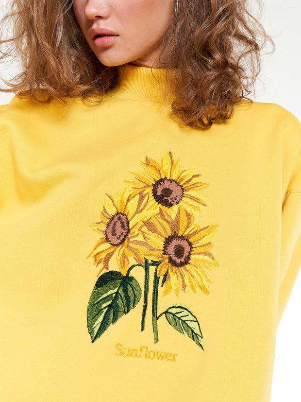 Sunflower Bouquet Oversized High Neck Sweater