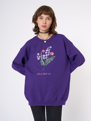 Don't Hurt Me Flowers Embroidered Sweater in Purple