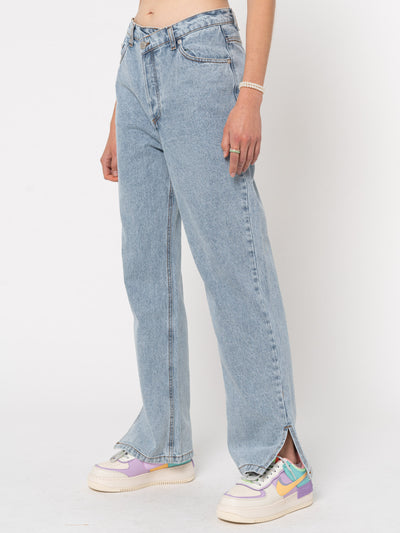 Asymmetric Straight Leg Jeans - Minga London