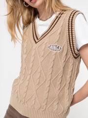 Beige Cable Knitted Sweater Vest - Minga London