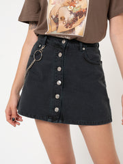 Black Denim Skirt With Chain - Minga London