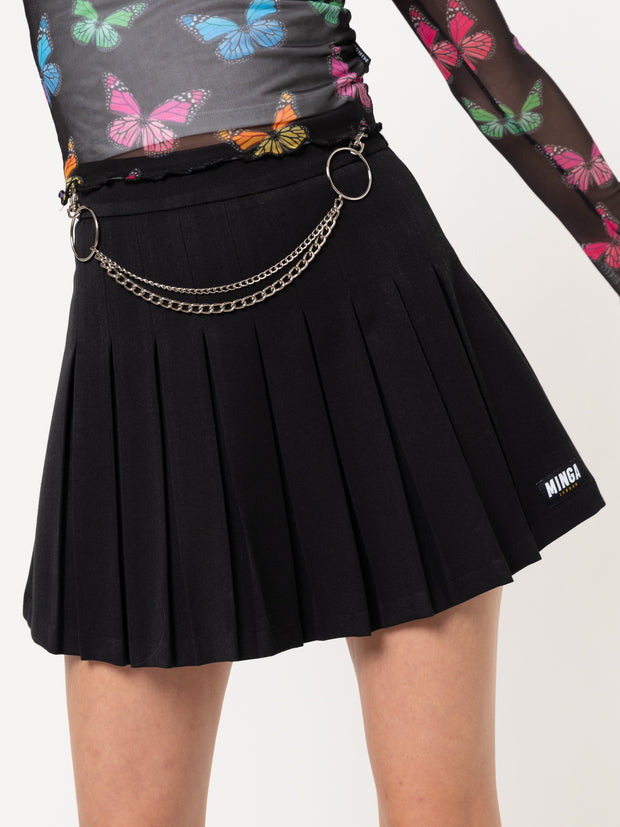 Black Pleated Tennis Skirt With Front Chain
