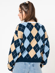 Blue Beige Argyle Knitted Cardigan - Minga London