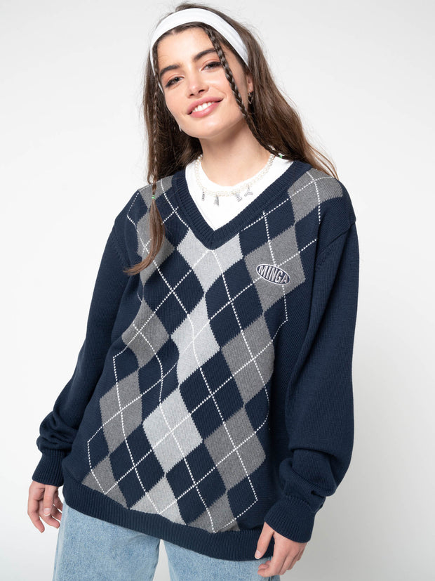 Blue Grey Argyle Knitted Jumper - Minga London