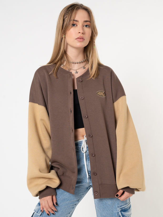 Brown Beige Colour Block Bomber Jacket - Minga London