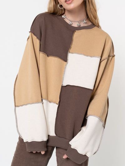 Brown Beige Patchwork Contrast Sweater - Minga London