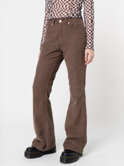 Brown Corduroy Flare Trousers - Minga London