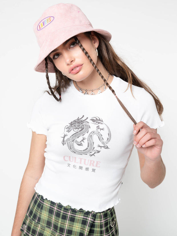Culture Chinese Dragon Lettuce Edge Crop Top