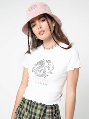 Culture Chinese Dragon Lettuce Edge Crop Top - Minga London