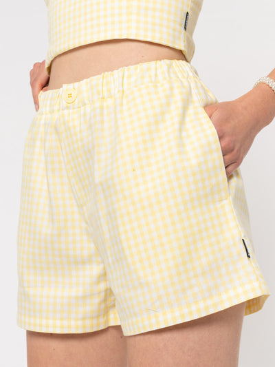 Maisie Yellow Gingham Boxer Shorts - Minga London