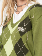 Green Shades Argyle Knitted Jumper - Minga London