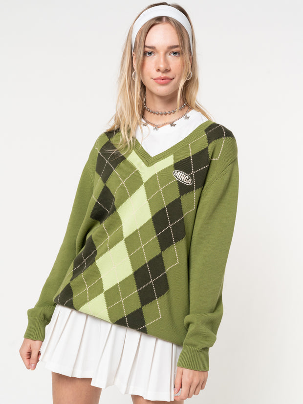 Green Shades Argyle Knitted Jumper