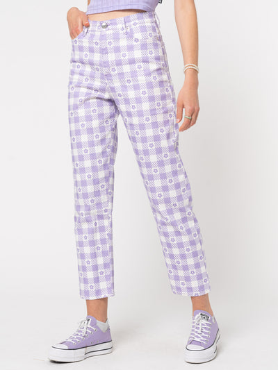 Floral Gingham Lilac Check Mom Jeans - Minga London