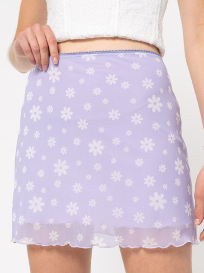 Flower Girl Lilac Mini Skirt - Minga London