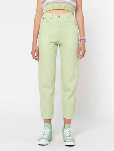 Pastel Green Denim Mom Jeans - Minga London