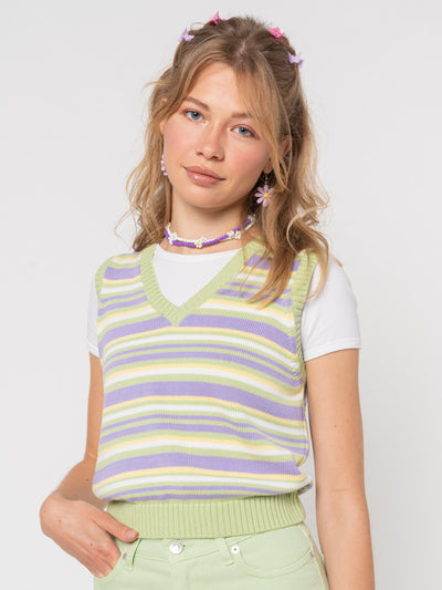 Pastel Striped Knit Sweater Vest - Minga London