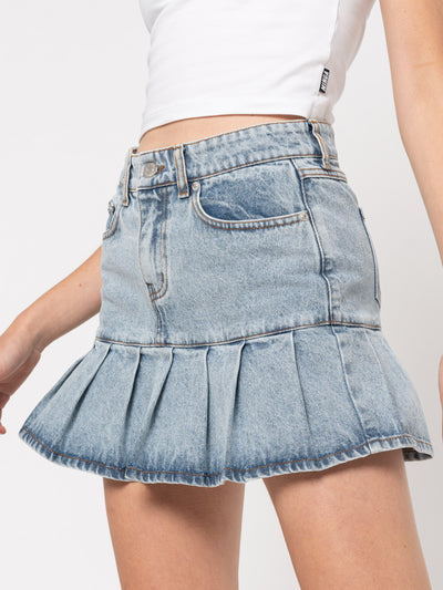 Pleated Denim Mini Skirt - Minga London