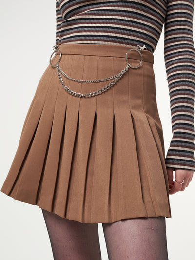 Mocha Pleated Tennis Skirt With Front Chain