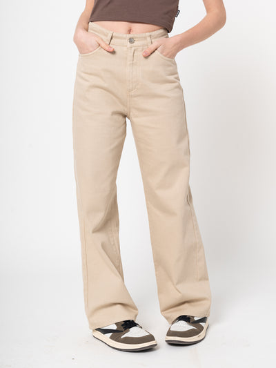Sand Beige Wide Leg Trousers - Minga London