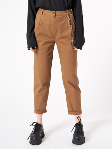 Peg Trousers With Chain in Tan