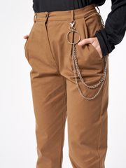 Peg Trousers With Chain High Waisted