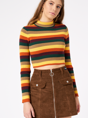 Deep Warm Striped Ribbed Top