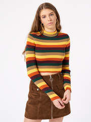 Deep Warm Stripes Ribbed Top Rainbow