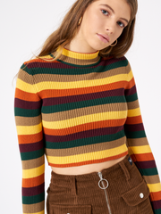 DEEP WARM STRIPES RIBBED TOP