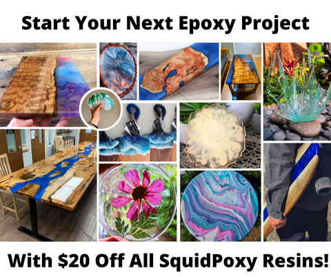 join the club ad with collage of epoxy resin projects