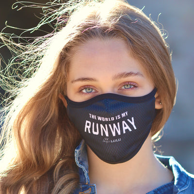 THE WORLD IS MY RUNWAY Face Mask