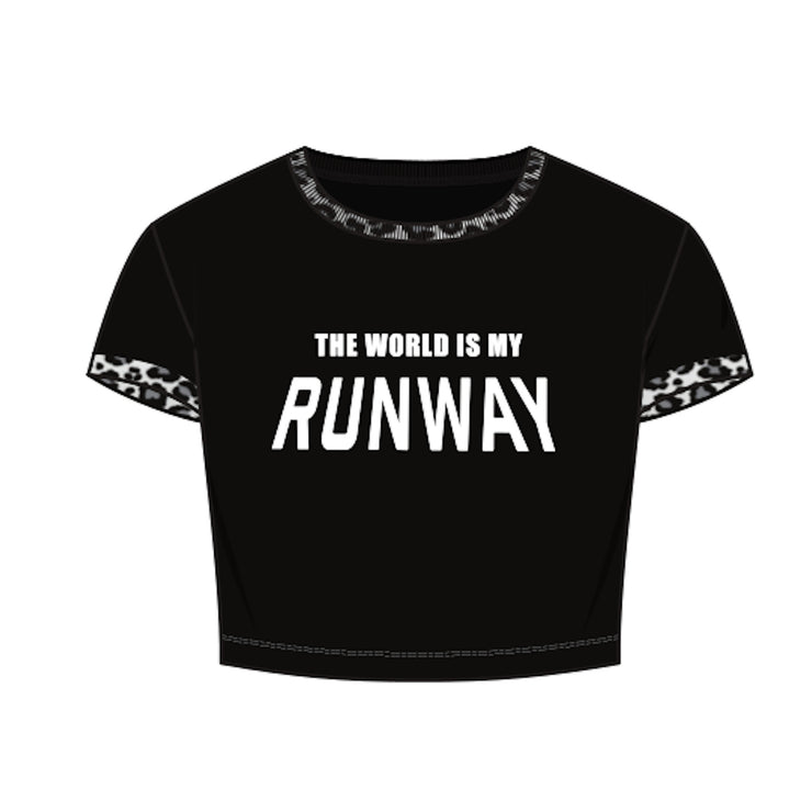 THE WORLD IS MY RUNWAY Cropped Tee