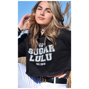 Varsity BLACK Cropped Hoodie with white logo