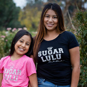 SugarLulu MAMA Varsity BLACK Tee with white logo