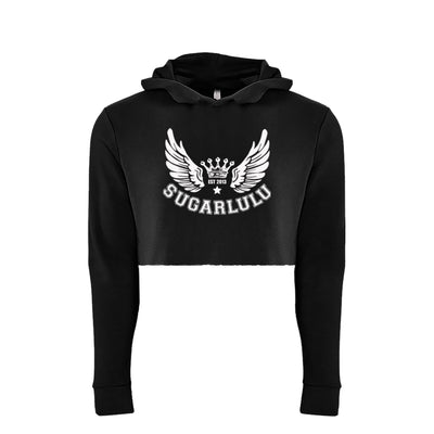 Signature Wings BLACK Cropped Hoodie with white logo